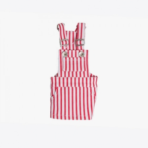 Stripe Overall Dress (Red)