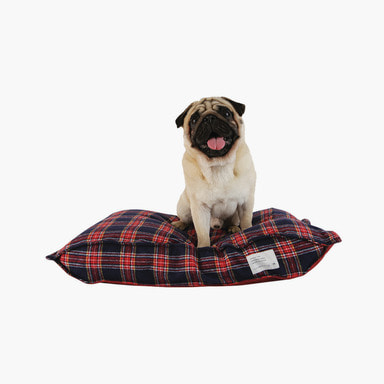 Pofen Reversible Check Cushion (Navy/Burgundy)