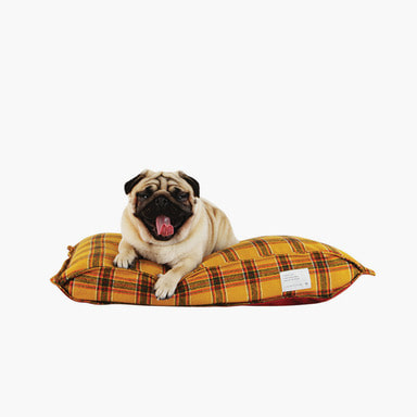 Pofen Reversible Check Cushion (Mustard/Burgundy)